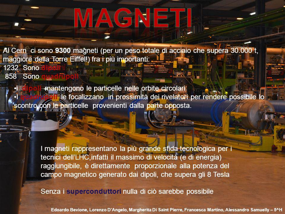 Magneti Al Cern ci sono 9300 magneti (per un peso totale di acciaio che supera 30.000 t, maggiore della Torre Eiffel!) fra i più importanti: