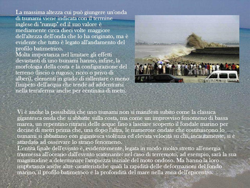 La massima altezza cui può giungere un onda di tsunami viene indicata con il termine inglese di runup ed il suo valore è mediamente circa dieci volte maggiore dell altezza dell onda che lo ha originato, ma è evidente che tutto è legato all andamento del profilo batimetrico. Molta importanza nel limitare gli effetti devastanti di uno tsunami hanno, infine, la morfologia della costa e la configurazione del terreno (liscio o rugoso, ricco o privo di alberi), elementi in grado di rallentare o meno l impeto dell acqua che tende ad addentrarsi nella terraferma anche per centinaia di metri.