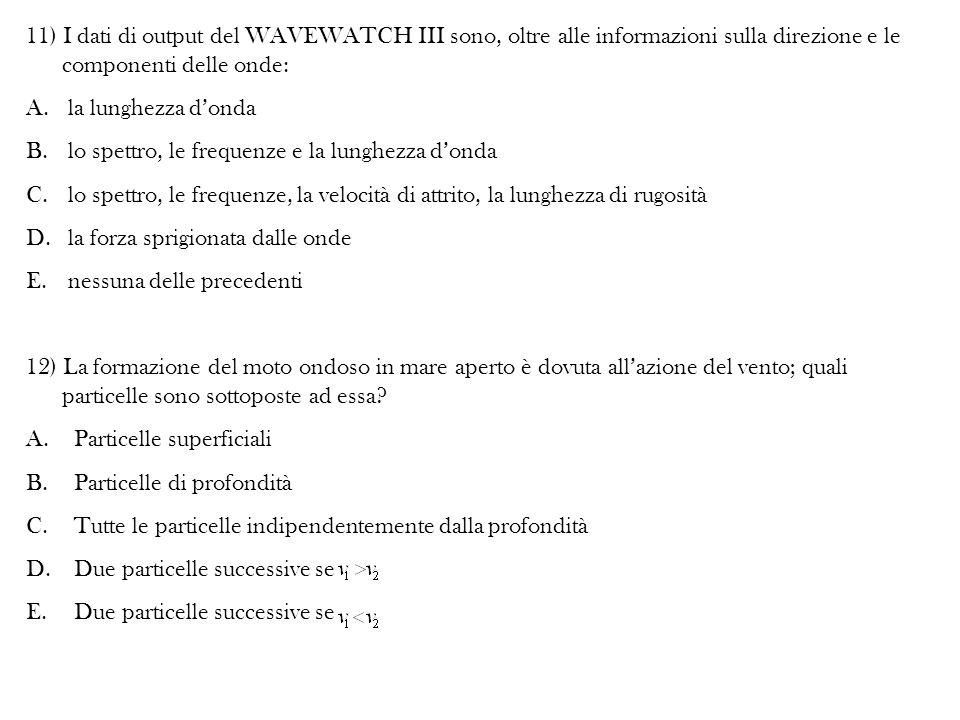 11) I dati di output del WAVEWATCH III sono, oltre alle informazioni sulla direzione e le componenti delle onde: