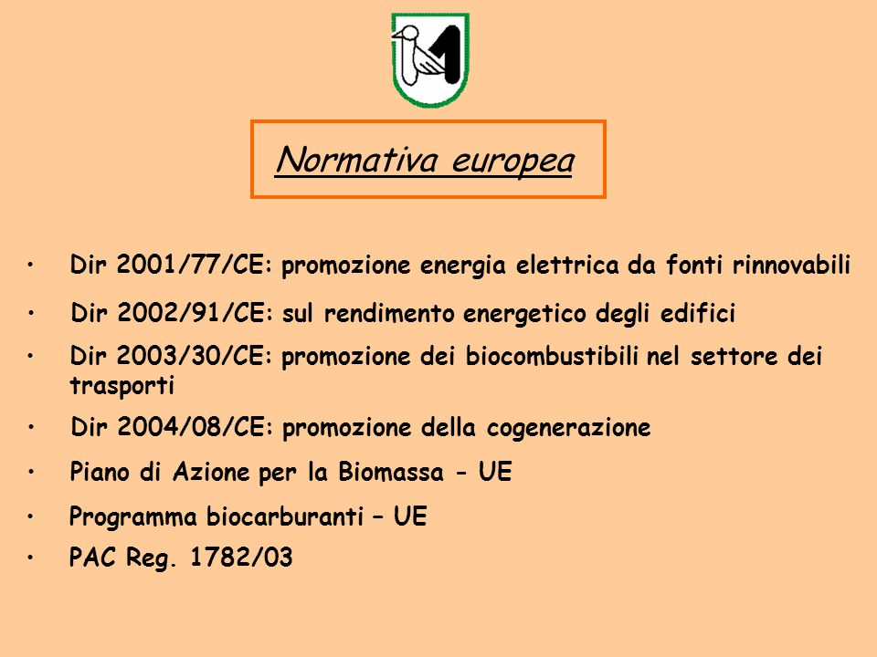 Normativa europea Dir 2001/77/CE: promozione energia elettrica da fonti rinnovabili. Dir 2002/91/CE: sul rendimento energetico degli edifici.