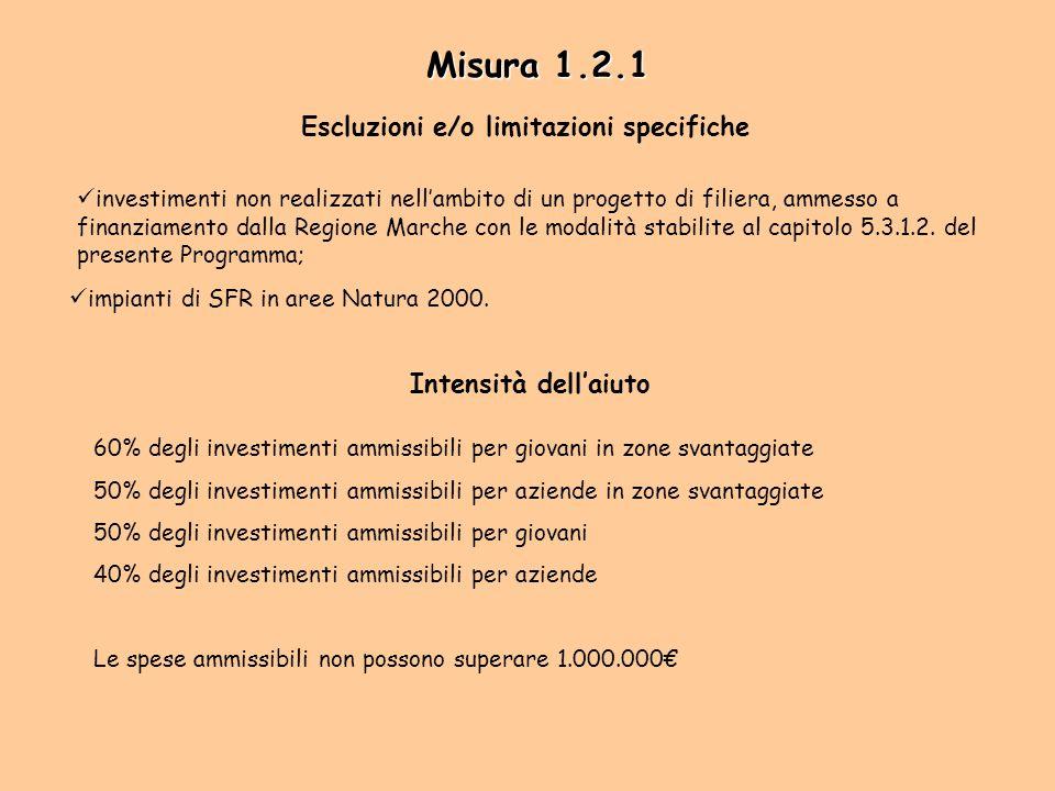 Misura 1.2.1 Escluzioni e/o limitazioni specifiche