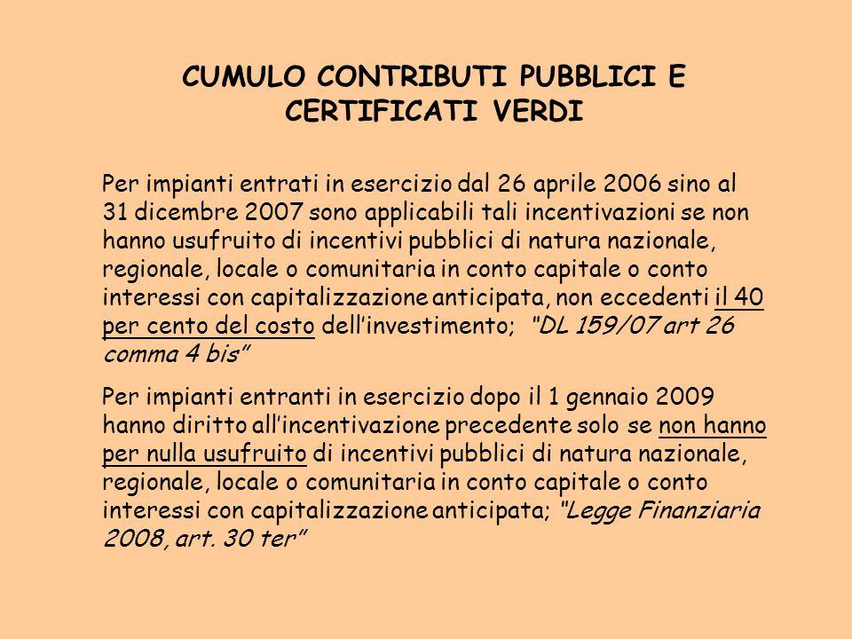 CUMULO CONTRIBUTI PUBBLICI E CERTIFICATI VERDI