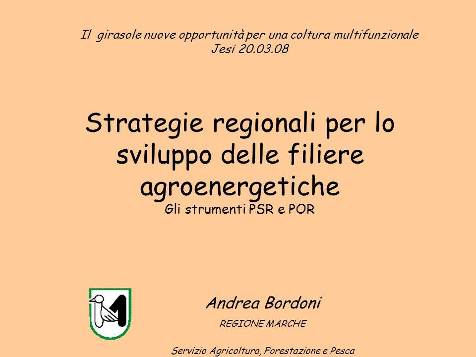Strategie regionali per lo sviluppo delle filiere agroenergetiche