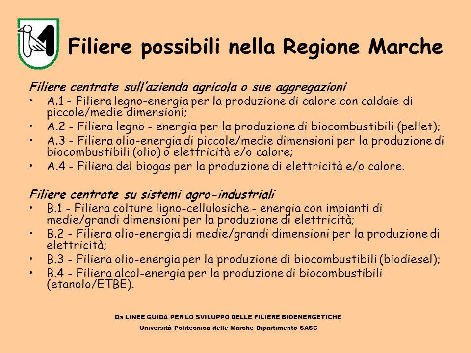 Filiere possibili nella Regione Marche