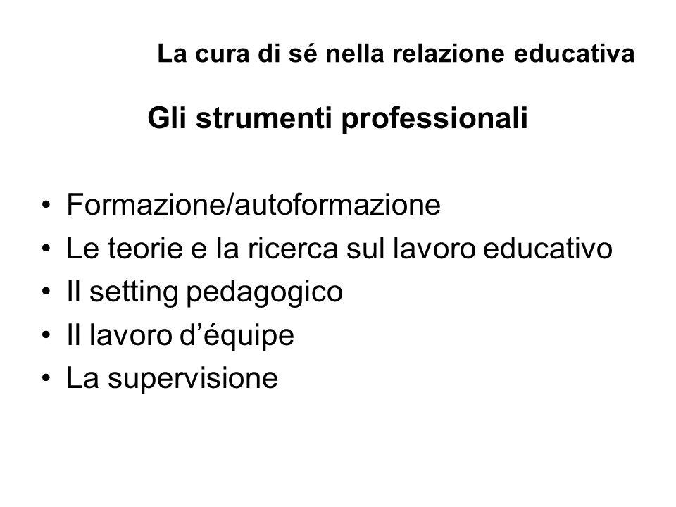 La cura di sé nella relazione educativa