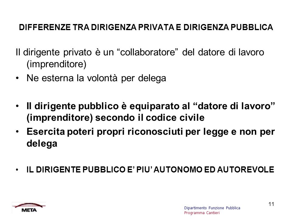 DIFFERENZE TRA DIRIGENZA PRIVATA E DIRIGENZA PUBBLICA