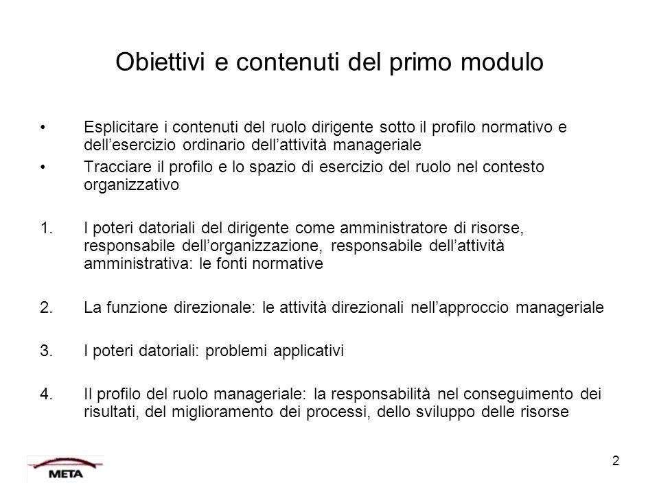 Obiettivi e contenuti del primo modulo