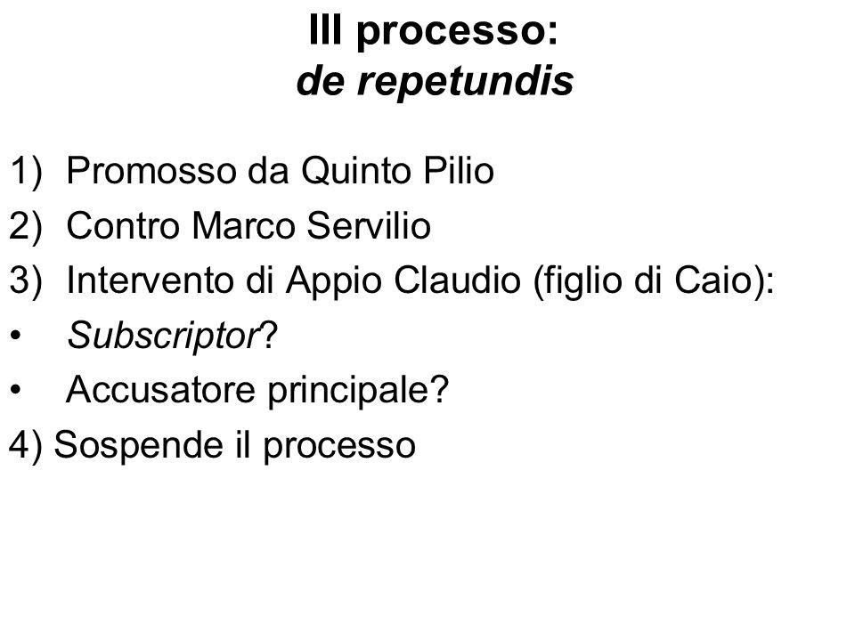 III processo: de repetundis