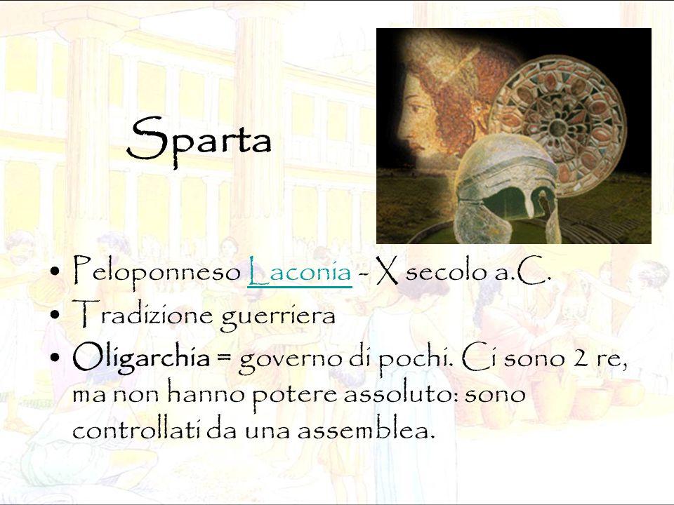Sparta Peloponneso Laconia - X secolo a.C. Tradizione guerriera