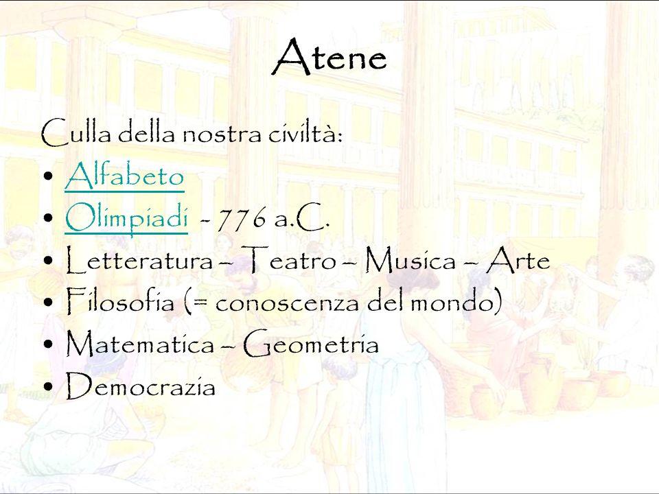 Atene Culla della nostra civiltà: Alfabeto Olimpiadi - 776 a.C.