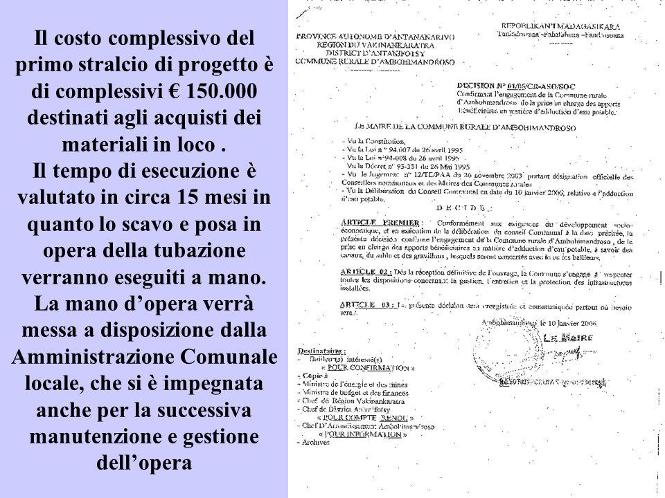 Il costo complessivo del primo stralcio di progetto è di complessivi € 150.000 destinati agli acquisti dei materiali in loco .