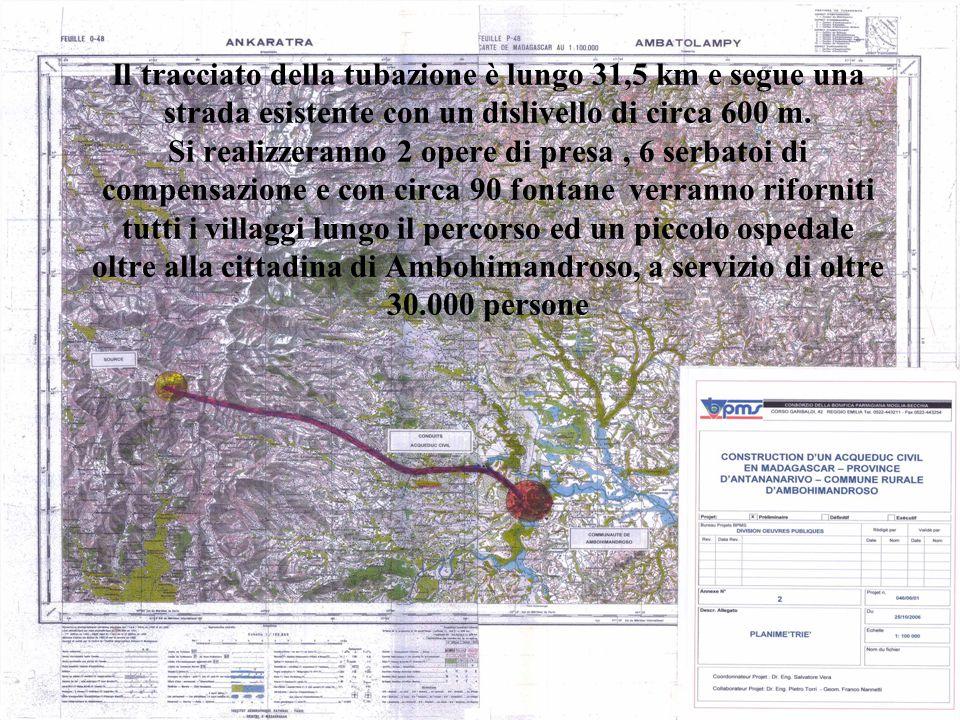 Il tracciato della tubazione è lungo 31,5 km e segue una strada esistente con un dislivello di circa 600 m.