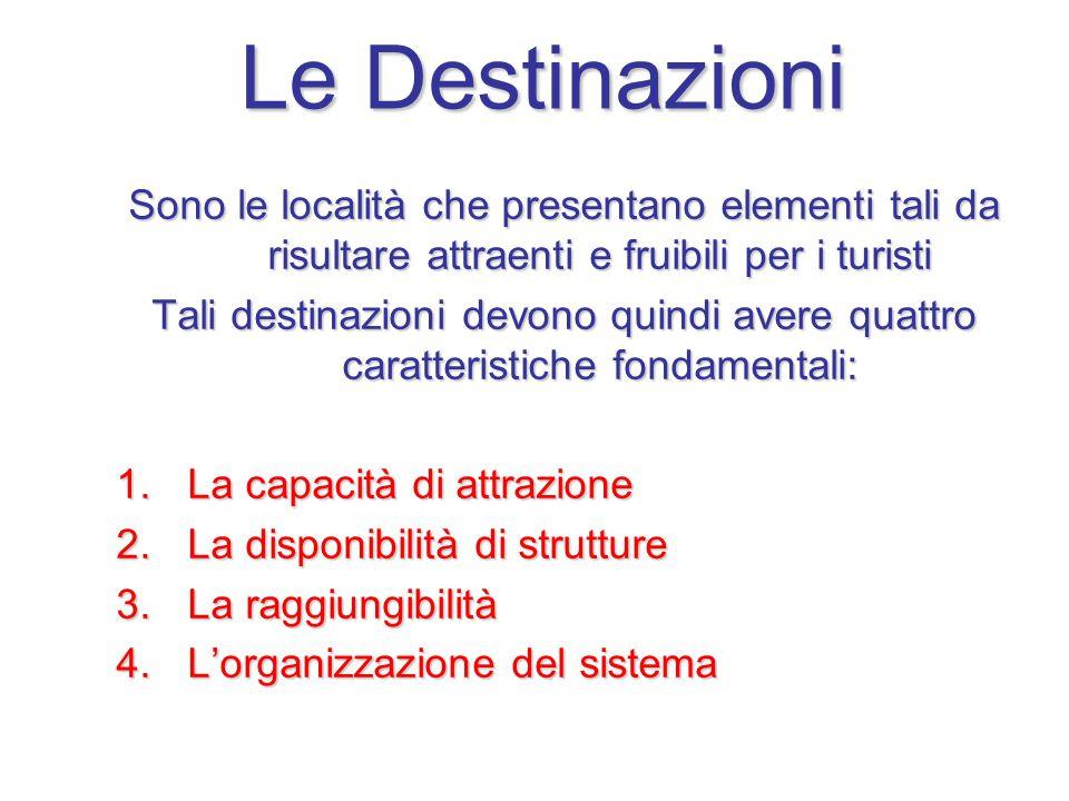 Le Destinazioni Sono le località che presentano elementi tali da risultare attraenti e fruibili per i turisti.