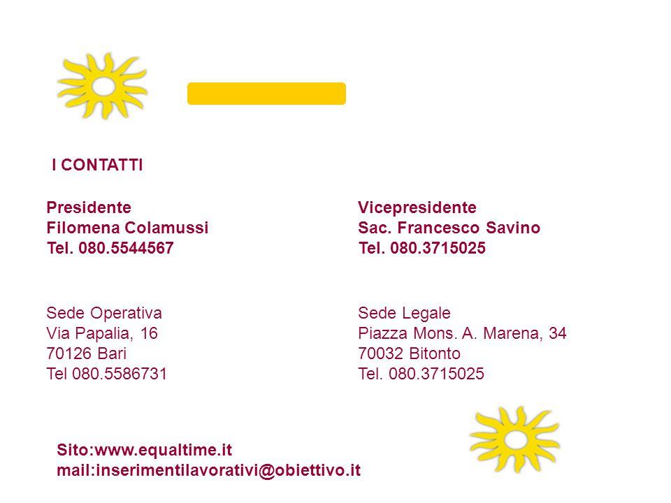 I CONTATTI Presidente. Filomena Colamussi. Tel. 080.5544567. Vicepresidente. Sac. Francesco Savino.