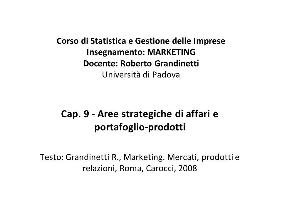 Cap. 9 - Aree strategiche di affari e portafoglio-prodotti