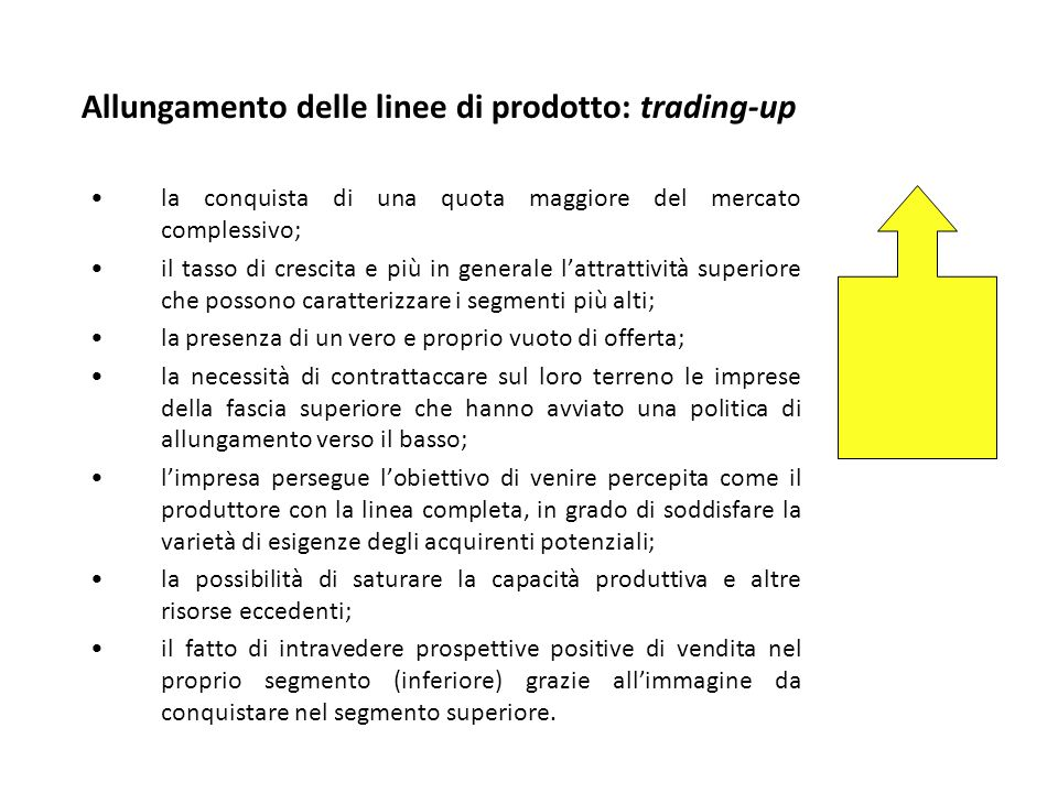Allungamento delle linee di prodotto: trading-up
