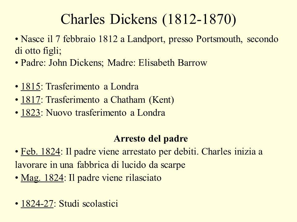 Charles Dickens (1812-1870) Nasce il 7 febbraio 1812 a Landport, presso Portsmouth, secondo di otto figli;