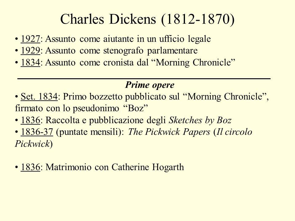 Charles Dickens (1812-1870) 1927: Assunto come aiutante in un ufficio legale. 1929: Assunto come stenografo parlamentare.