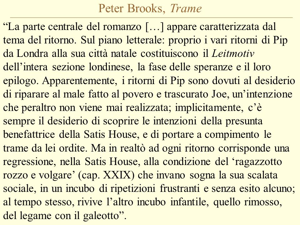 Peter Brooks, Trame