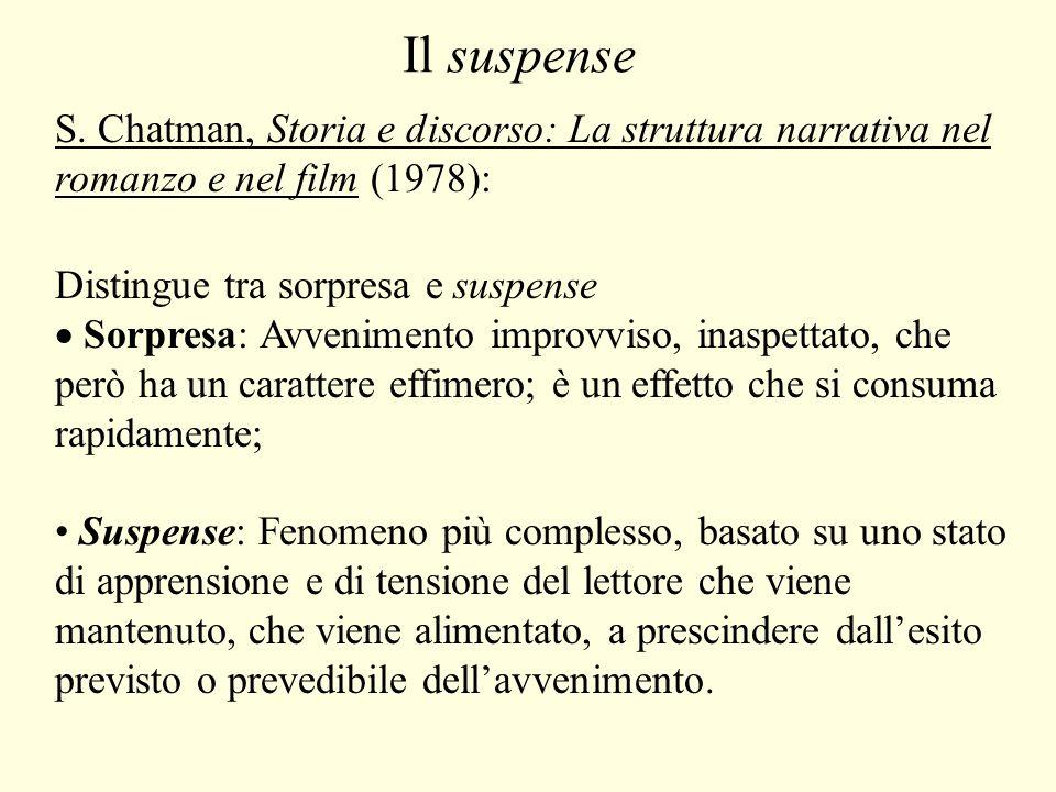 Il suspense S. Chatman, Storia e discorso: La struttura narrativa nel romanzo e nel film (1978): Distingue tra sorpresa e suspense.