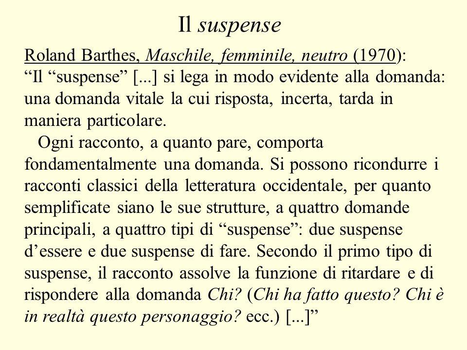 Il suspense Roland Barthes, Maschile, femminile, neutro (1970):