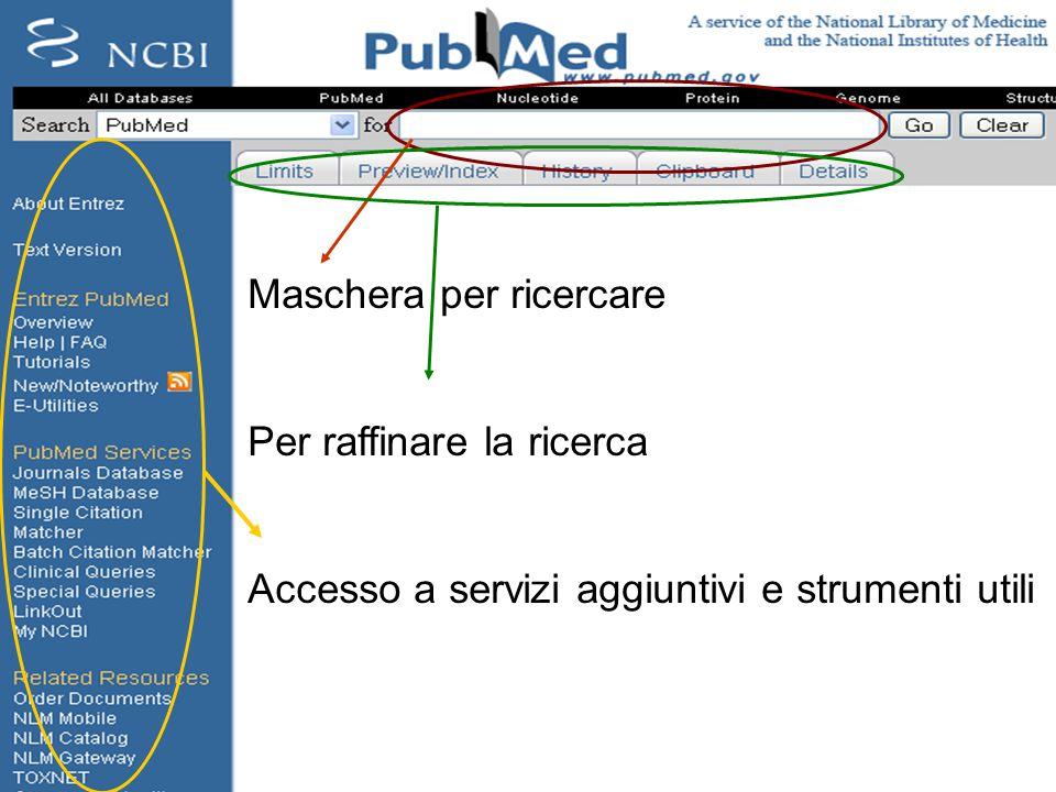 http://pubmed.gov Maschera per ricercare Per raffinare la ricerca