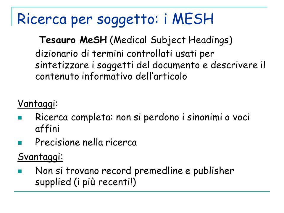 Ricerca per soggetto: i MESH
