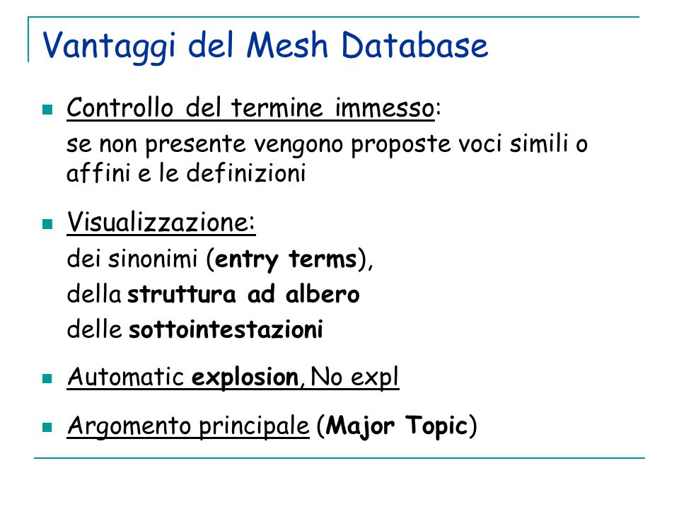 Vantaggi del Mesh Database