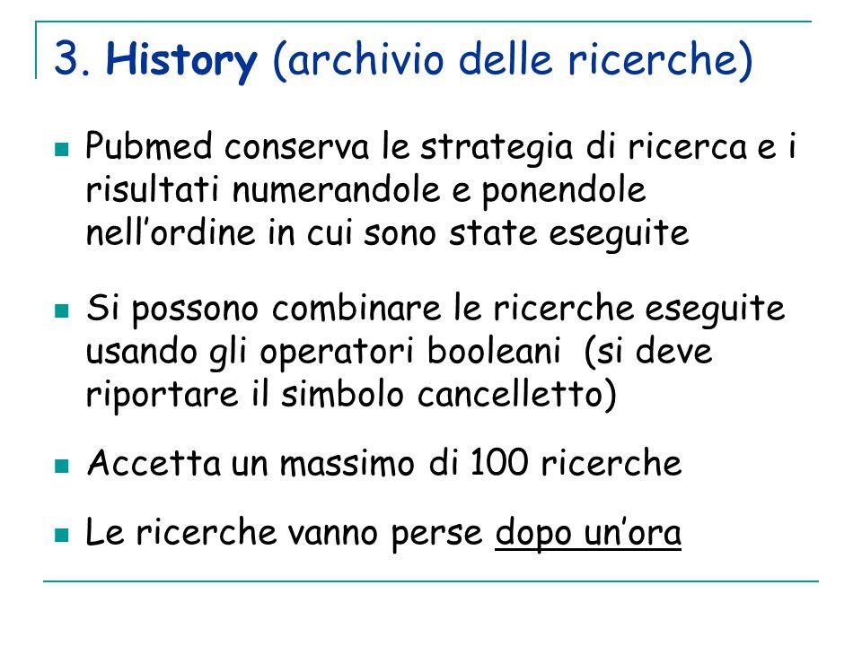 3. History (archivio delle ricerche)