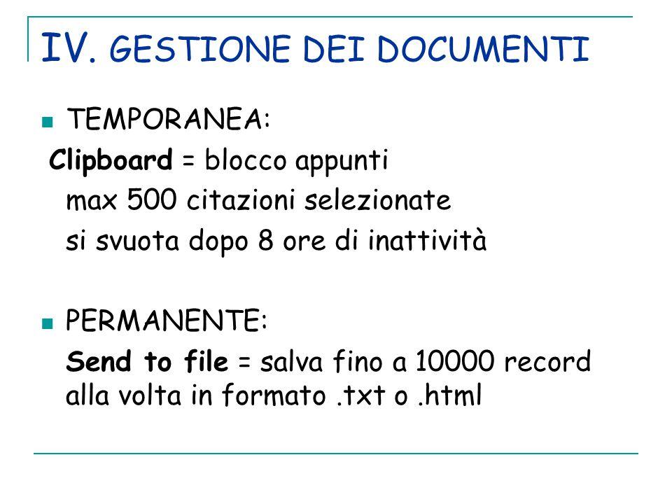 IV. GESTIONE DEI DOCUMENTI