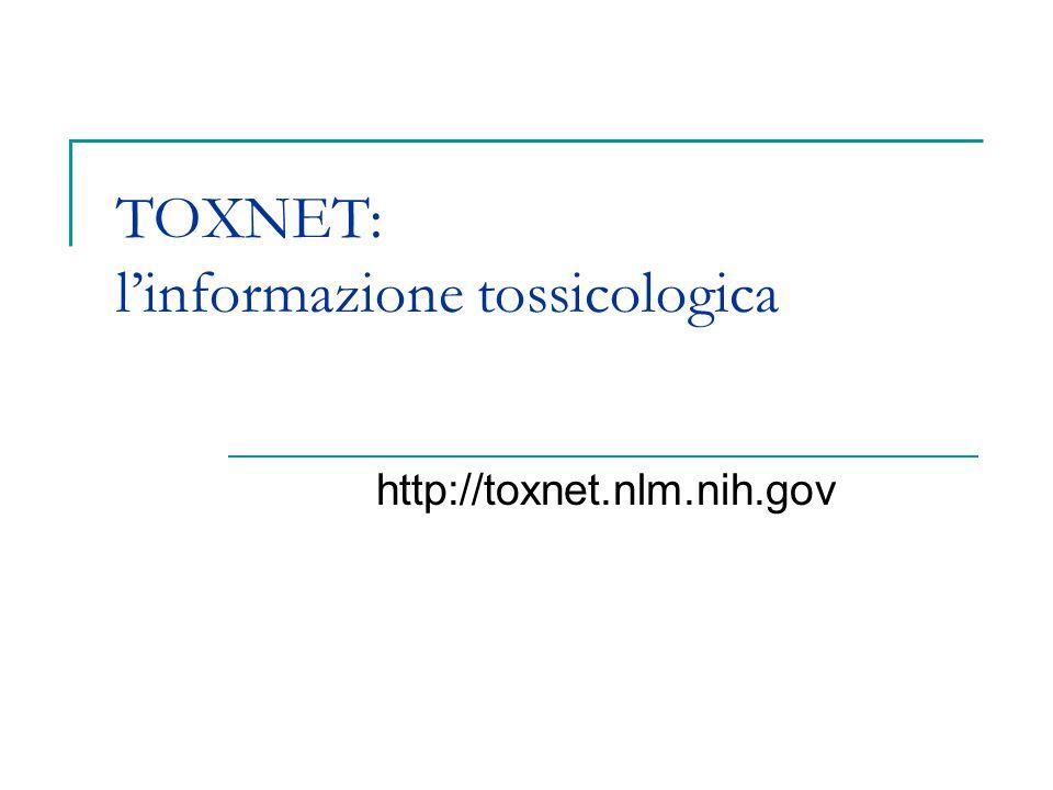 TOXNET: l'informazione tossicologica
