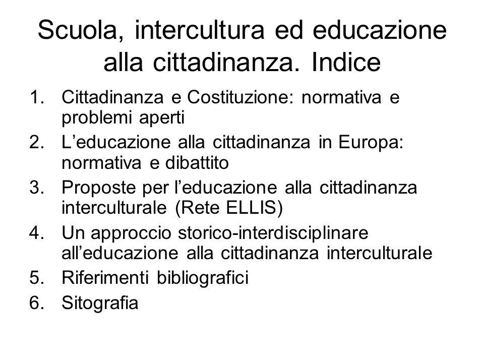 Scuola, intercultura ed educazione alla cittadinanza. Indice