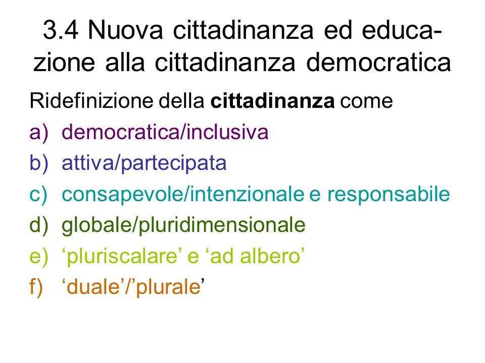 3.4 Nuova cittadinanza ed educa-zione alla cittadinanza democratica