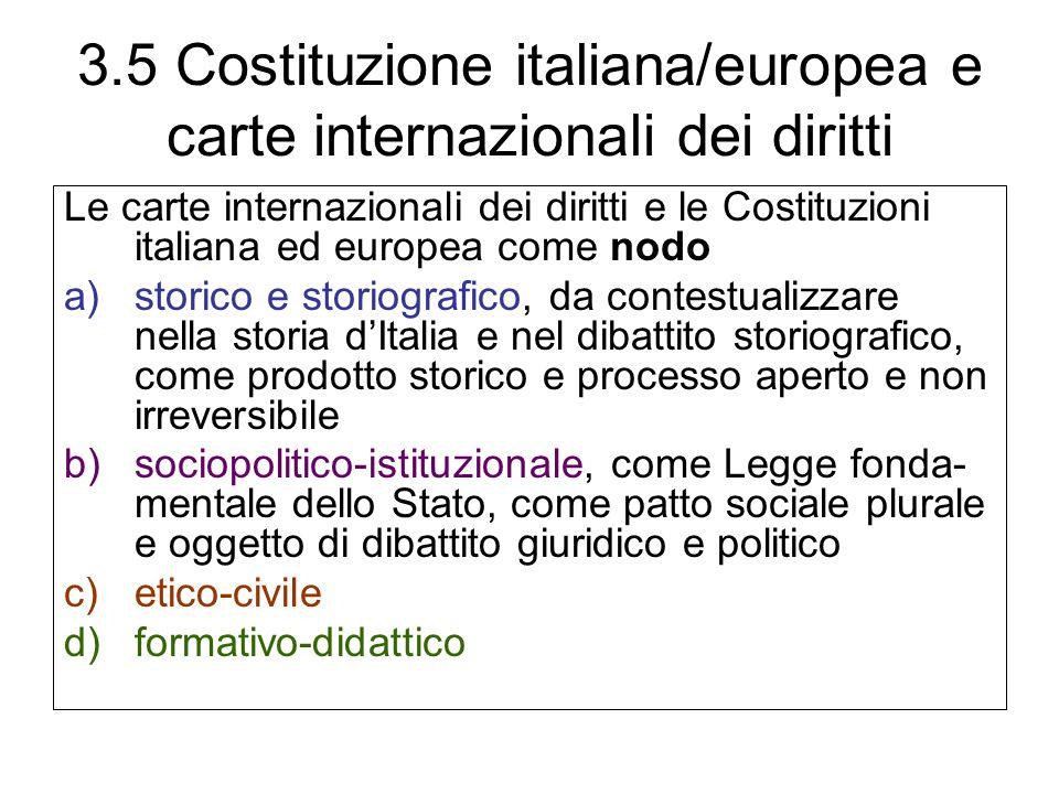 3.5 Costituzione italiana/europea e carte internazionali dei diritti