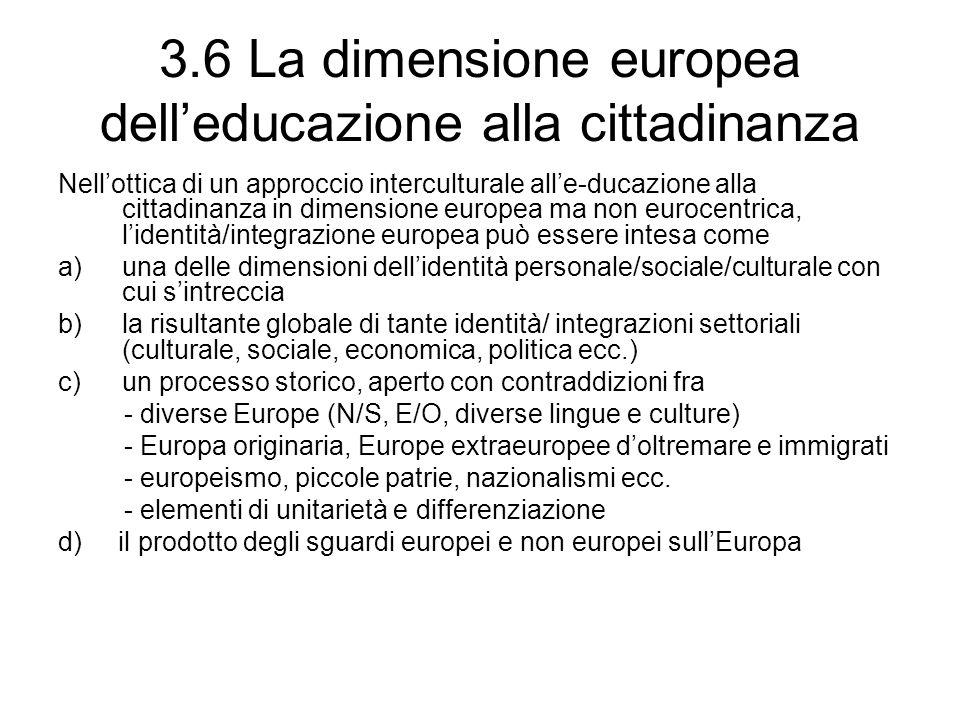 3.6 La dimensione europea dell'educazione alla cittadinanza