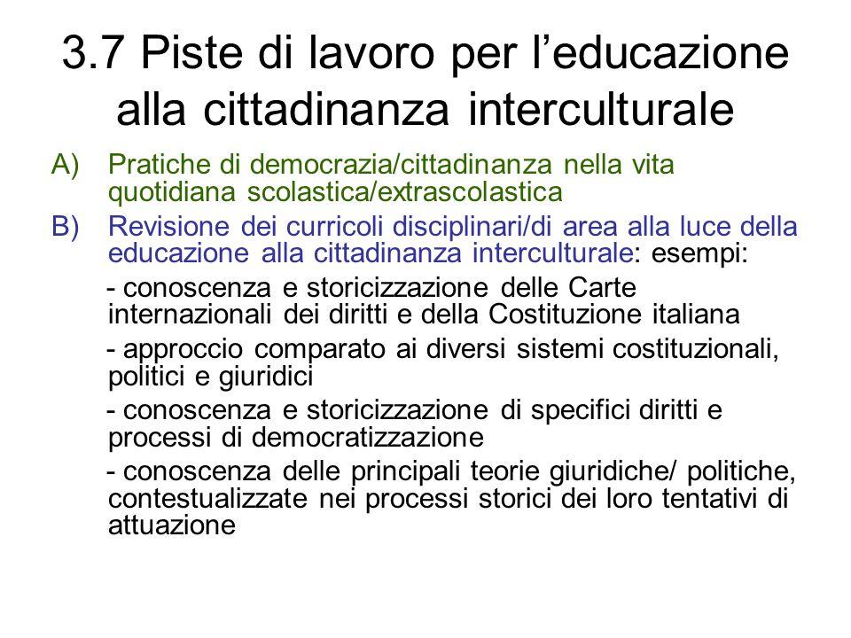 3.7 Piste di lavoro per l'educazione alla cittadinanza interculturale