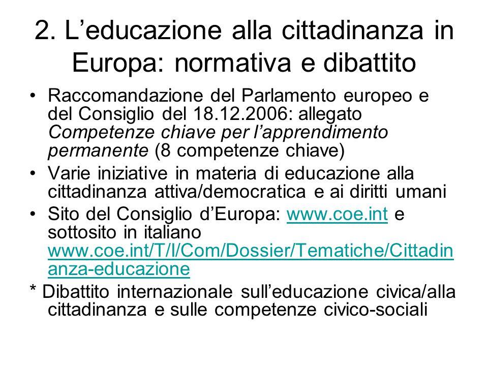 2. L'educazione alla cittadinanza in Europa: normativa e dibattito