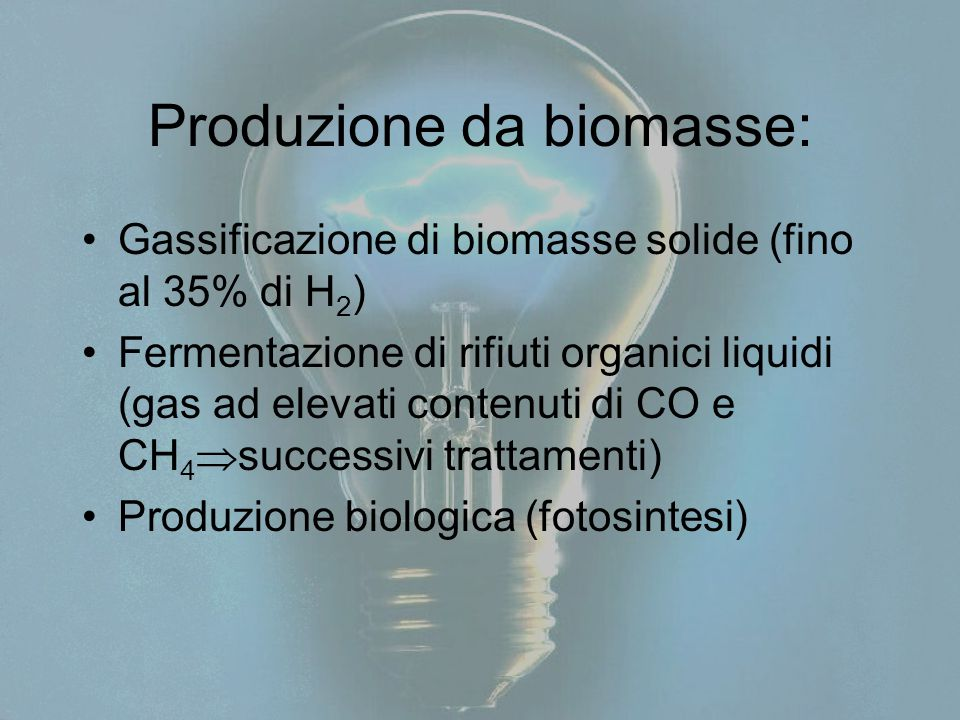 Produzione da biomasse: