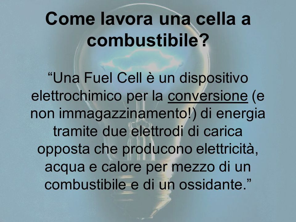 Come lavora una cella a combustibile