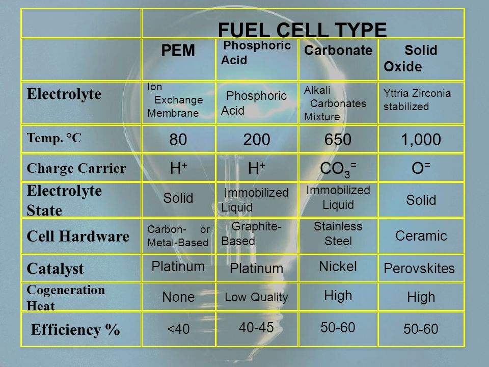 FUEL CELL TYPE PEM Electrolyte 80 200 650 1,000 H+ CO3= O=