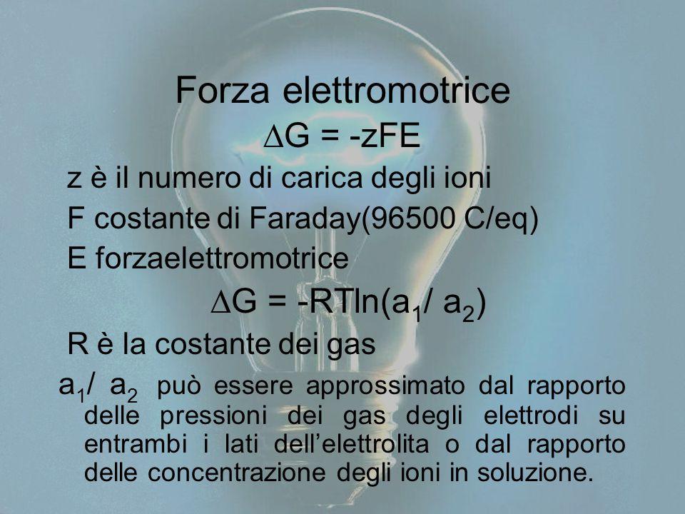 Forza elettromotrice G = -zFE G = -RTln(a1/ a2)