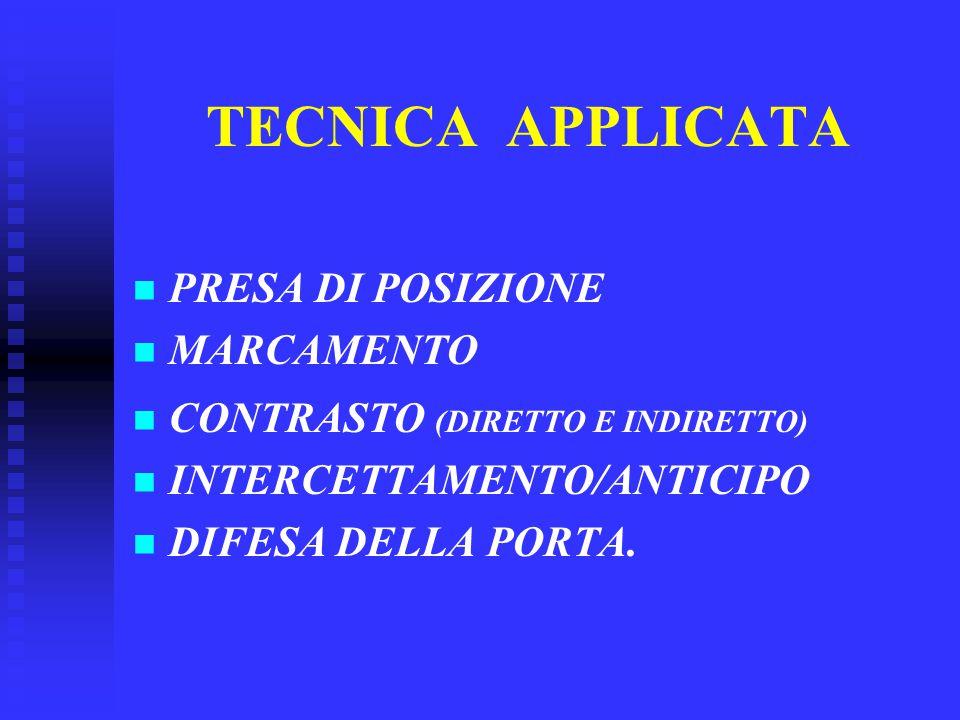 TECNICA APPLICATA PRESA DI POSIZIONE MARCAMENTO