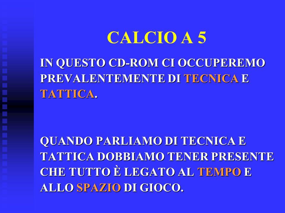 CALCIO A 5 IN QUESTO CD-ROM CI OCCUPEREMO PREVALENTEMENTE DI TECNICA E