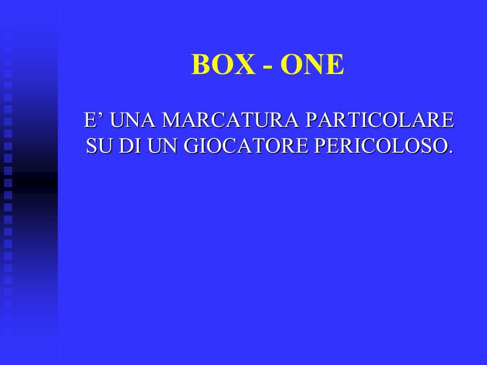 BOX - ONE E' UNA MARCATURA PARTICOLARE SU DI UN GIOCATORE PERICOLOSO.