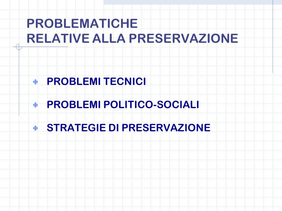 PROBLEMATICHE RELATIVE ALLA PRESERVAZIONE
