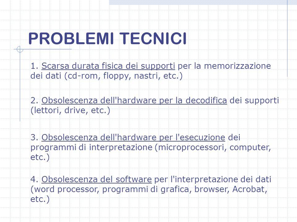 PROBLEMI TECNICI 1. Scarsa durata fisica dei supporti per la memorizzazione dei dati (cd-rom, floppy, nastri, etc.)