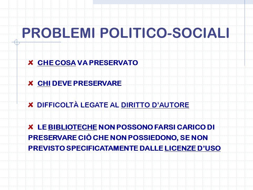 PROBLEMI POLITICO-SOCIALI