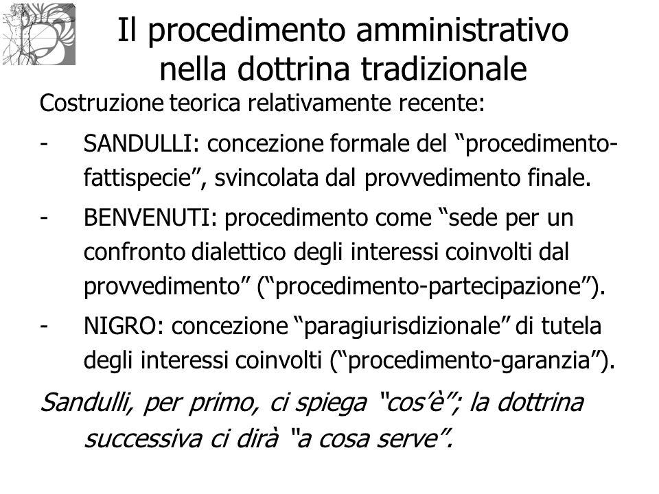 Il procedimento amministrativo nella dottrina tradizionale