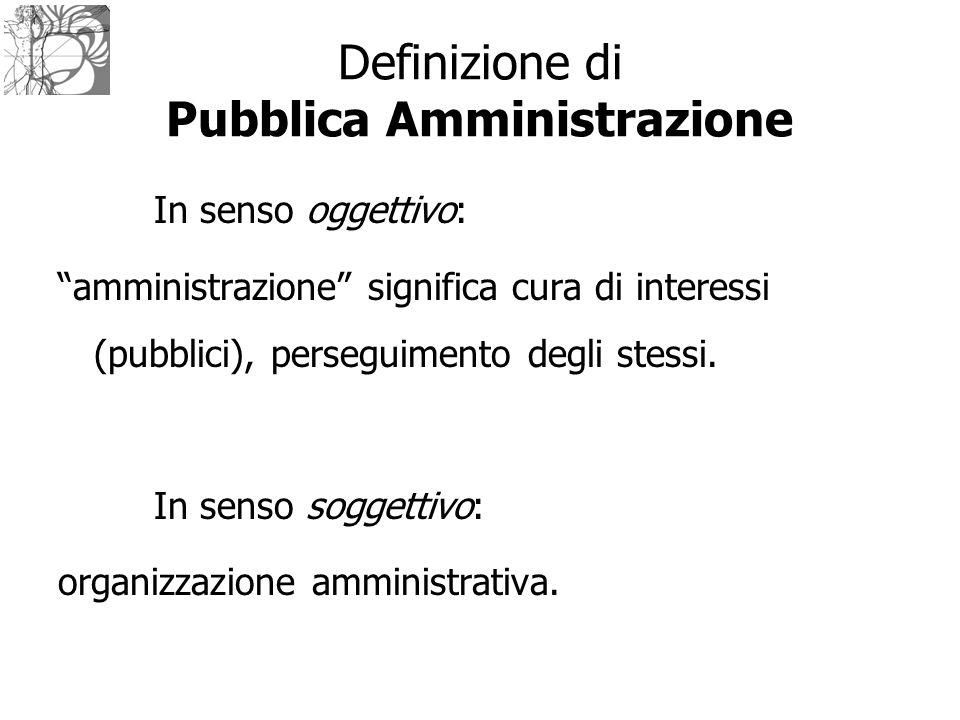 Definizione di Pubblica Amministrazione