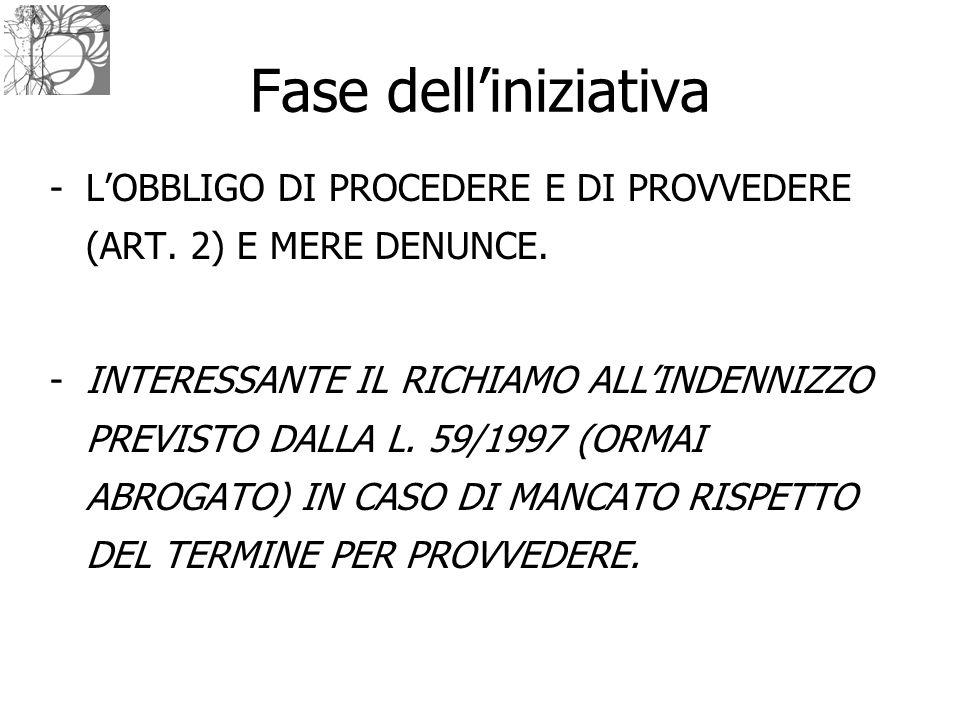 Fase dell'iniziativa L'OBBLIGO DI PROCEDERE E DI PROVVEDERE (ART. 2) E MERE DENUNCE.